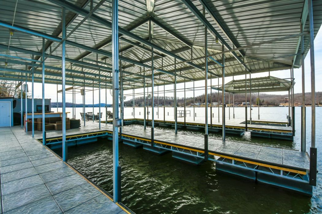 Side Entry Boat Dock With Hip Style Roof