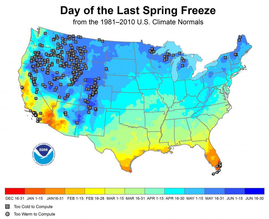 map of areas last spring freeze