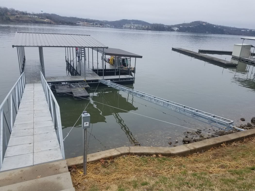 Affordable Dock with Boat Slip, PWC Slip, and Swim Deck