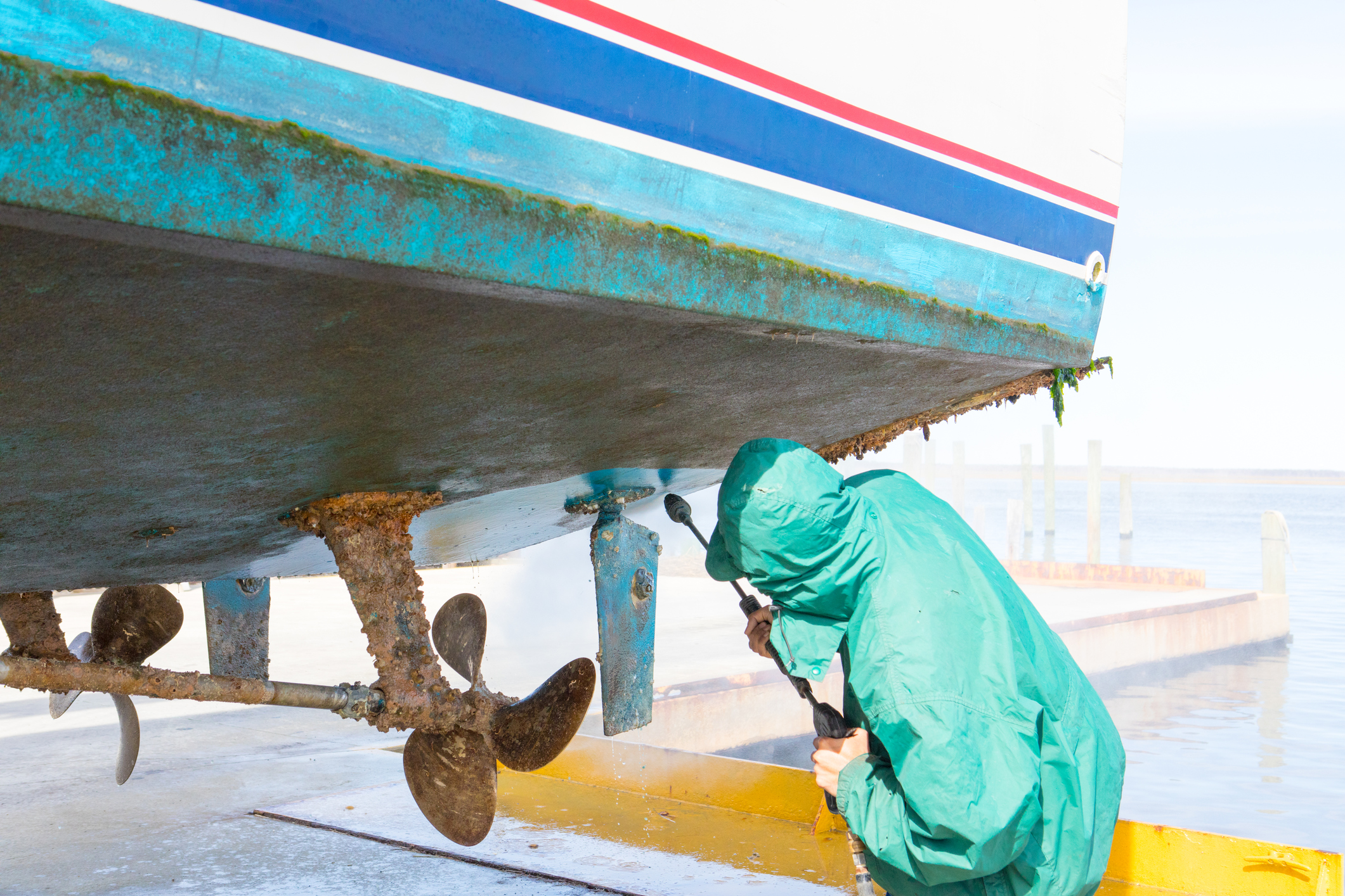 cleaning under boat