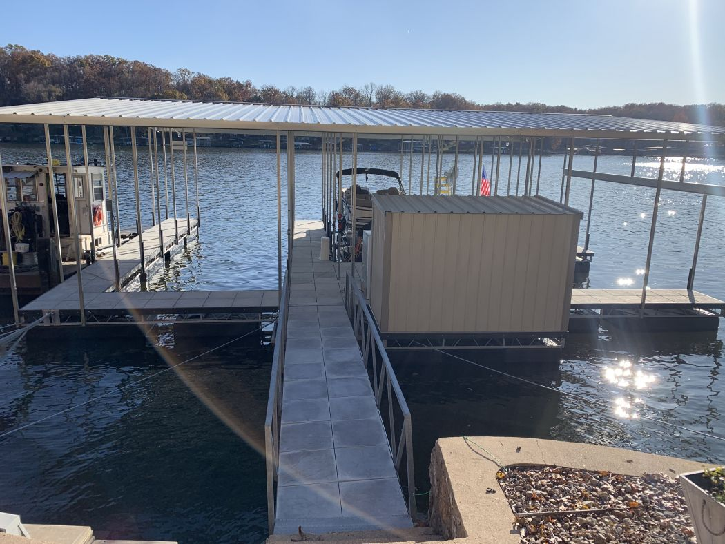 2 Slip Boat Dock with Removable Swim Deck