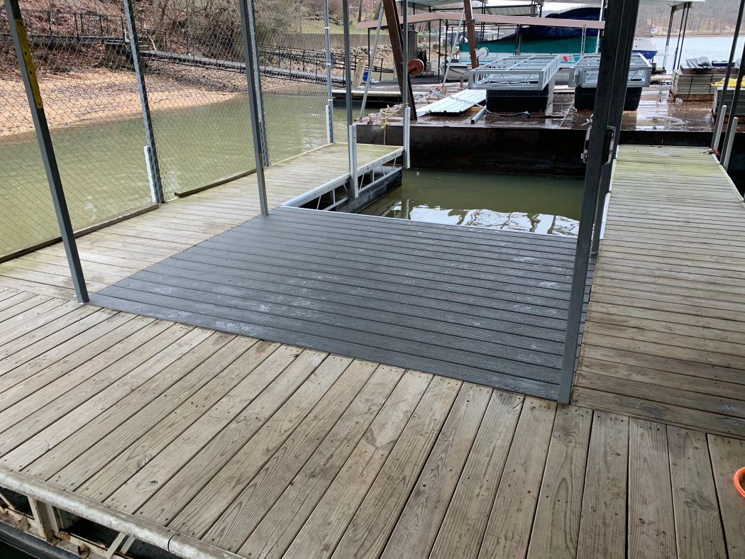 Dock Modification Fill with Composite Decking