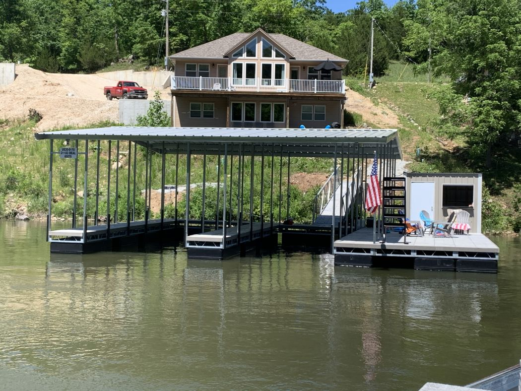 2 Slip Boat Dock with Shed and WetSteps